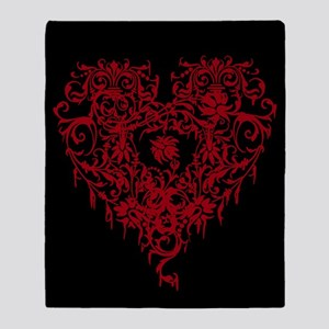 Ornate Red Gothic Heart Throw Blanket