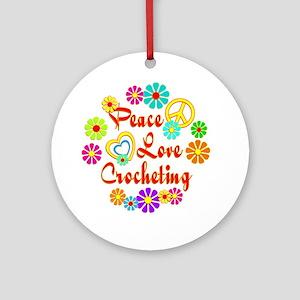 Peace Love Crocheting Ornament (Round)