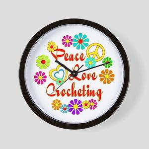 Peace Love Crocheting Wall Clock
