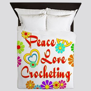 Peace Love Crocheting Queen Duvet