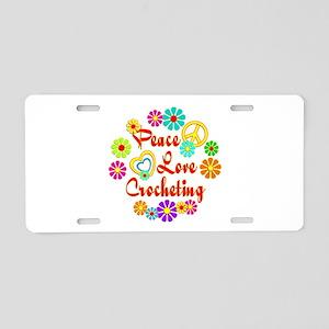 Peace Love Crocheting Aluminum License Plate