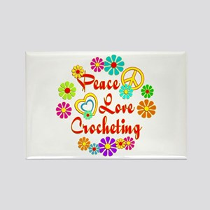 Peace Love Crocheting Rectangle Magnet