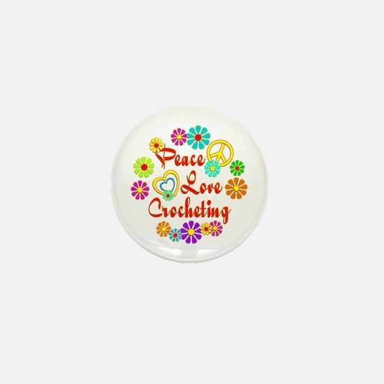 Peace Love Crocheting Mini Button