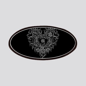 Ornate Grey Gothic Heart Patches