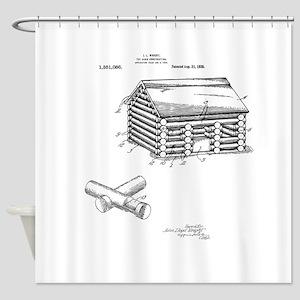 Toy Log Cabin Shower Curtain