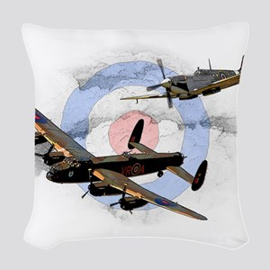 Spitfire and Lancaster Woven Throw Pillow