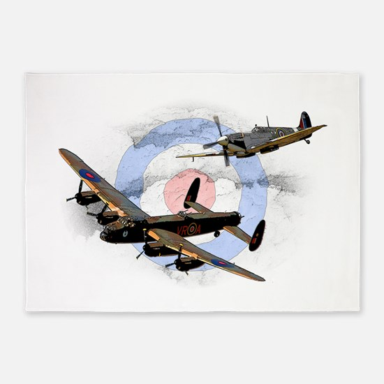 Spitfire and Lancaster 5'x7'Area Rug