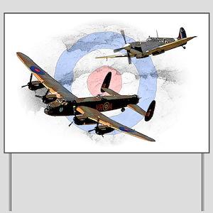 Spitfire and Lancaster Yard Sign