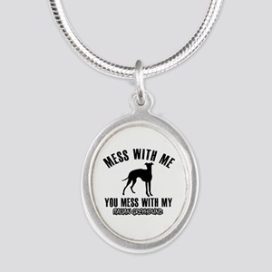 Italian Greyhound owner designs Silver Oval Neckla