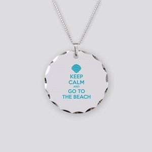 Keep calm and go to the beach Necklace Circle Char