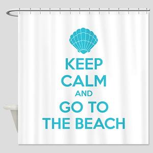 Keep calm and go to the beach Shower Curtain