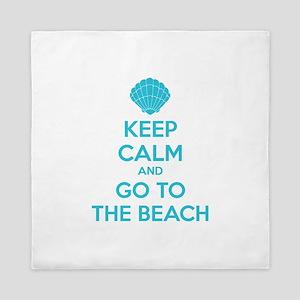 Keep calm and go to the beach Queen Duvet