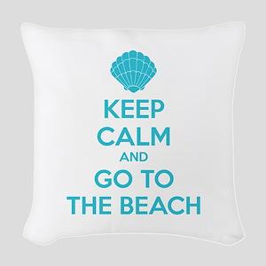 Keep calm and go to the beach Woven Throw Pillow