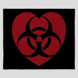Red Biohazard Heart King Duvet