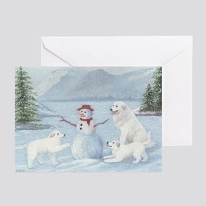 Great Pyrenees Cards, pk of 10, Snow Fun