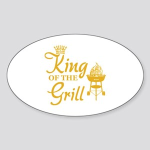 King of the grill Sticker (Oval)