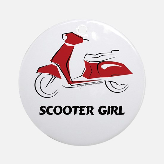 Scooter Girl (Red) Ornament (Round)