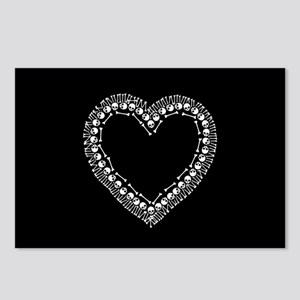Pretty Skull Heart Postcards (Package of 8)