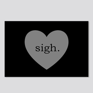 Grey Heart Sigh Postcards (Package of 8)