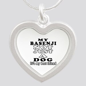 Basenji not just a dog Silver Heart Necklace