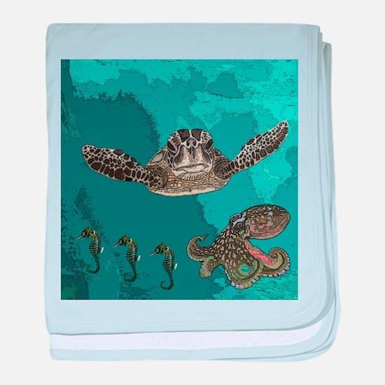 Sea creatures baby blanket