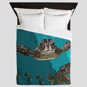 Sea creatures Queen Duvet