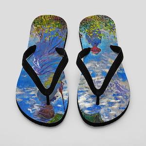 Monet - Woman with a Parasol Flip Flops