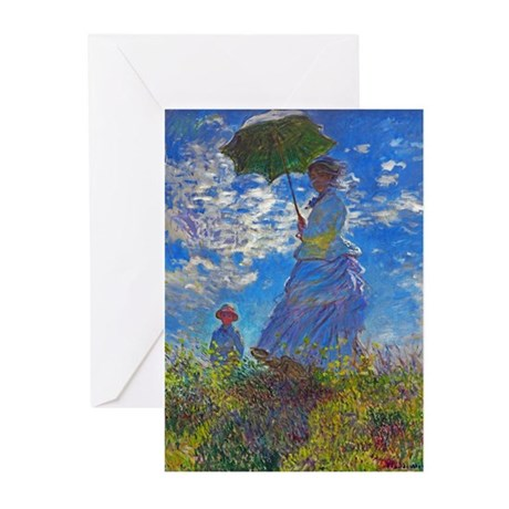 Monet - Woman with a Parasol Greeting Cards (Pk of