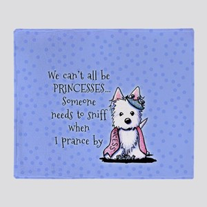 Westie Princess Sparkleheart Throw Blanket