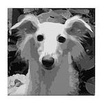 Silken Windhound Portrait Tile Coaster
