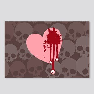 Skull Drips Heart Postcards (Package of 8)