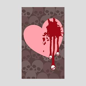 Skull Drips Heart Sticker (Rectangle)