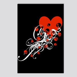 Heart With Skulls And Swirls Postcards (Package of