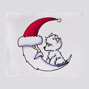Santa Moon Westie Throw Blanket