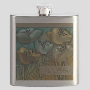 Aqua and Gold le Fleur Flask