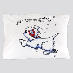 Keep Swimming Westie Pillow Case
