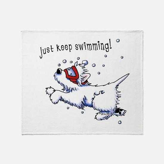 Keep Swimming Westie Throw Blanket