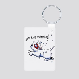 Keep Swimming Westie Aluminum Photo Keychain