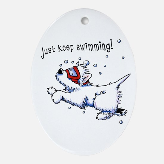 Keep Swimming Westie Ornament (Oval)
