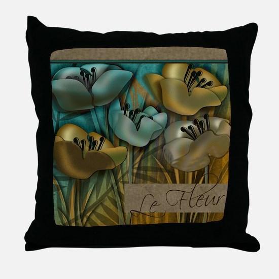 Aqua and Gold le Fleur Throw Pillow