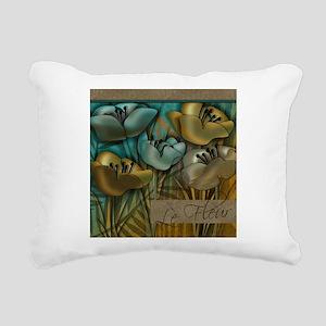 Aqua and Gold le Fleur Rectangular Canvas Pillow