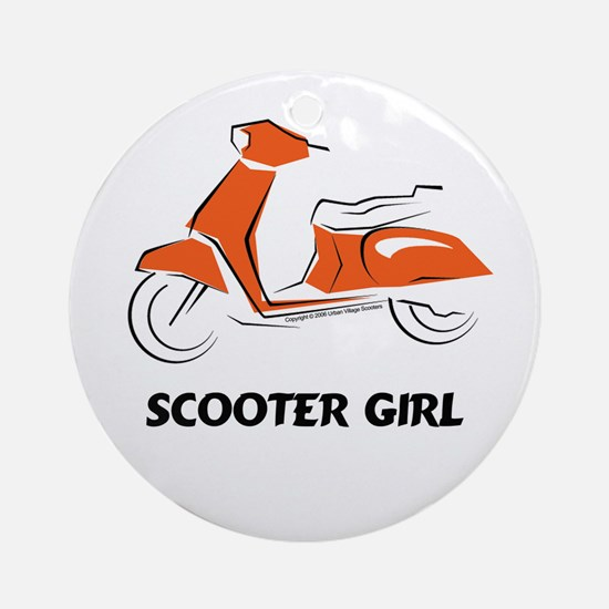 Scooter Girl (Orange) Ornament (Round)