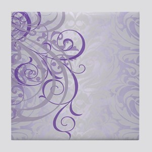 Vintage Rococo Purple Damask Tile Coaster