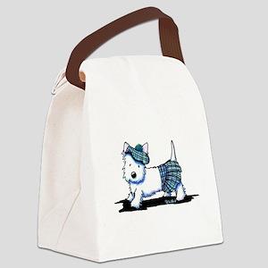 KiniArt Westie Blue Kilt Canvas Lunch Bag