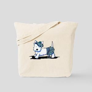 KiniArt Westie Blue Kilt Tote Bag