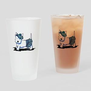 KiniArt Westie Blue Kilt Drinking Glass