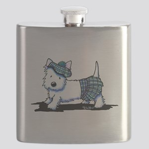 KiniArt Westie Blue Kilt Flask