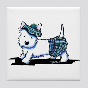 KiniArt Westie Blue Kilt Tile Coaster