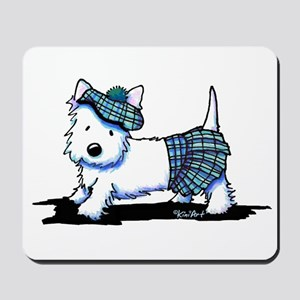 KiniArt Westie Blue Kilt Mousepad