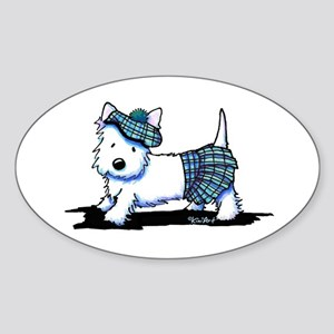 KiniArt Westie Blue Kilt Sticker (Oval)